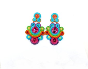 Unique Colorful Long Clip On Earrings Fashion Handmade Soutache Earrings with Crystals