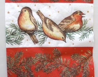 10 Christmas paper napkins - throat red birds on branch tree REF. 3809