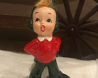 Vintage Napco Christmas Carole Singer with Hair 1950's