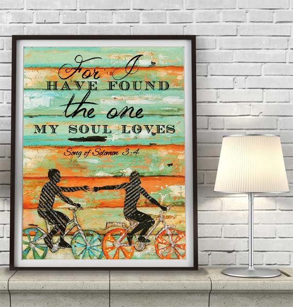 BICYCLE ART PRINT, Song of Solomon 3:4, Bicycle art, Inspirational, Christian print, Couple, Anniversary, Engagement, Wedding gift,All Sizes