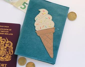 Ice Cream Passport Cover, Leather Passport Holder, Ice Cream, Travel Gift, Summer Holiday, Passport Case, Vacation, Ice Cream Cone, applique