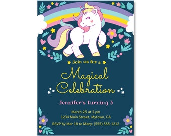 Printed Invitations - Unicorn