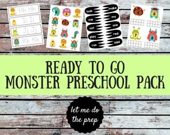 NO PREP Monster Preschool Pack | Homeschool Preschool | Ready to Go Activities