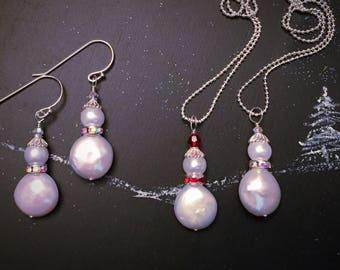 Silver Snowmen Necklace & Earrings Set, Gift for Her, Christmas Gift, Gift for Grandma, Sterling Silver, Stocking Stuffer, Solstice Gift