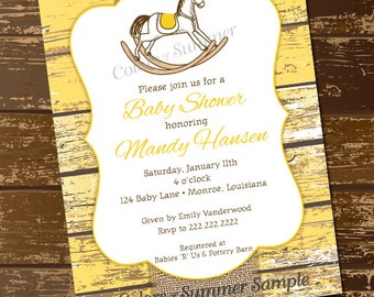 Rocking Horse Baby Shower Invitation, Yellow Rustic Invite, Monogram Invite, Burlap Baby Shower Invitation, Gender Neutral Invite, Digital
