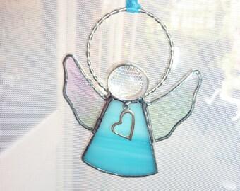Blue angel suncatcher.An angel with heart.