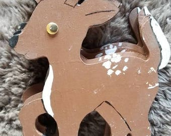 5 Handmade Vintage Wooden Deer Need TLC