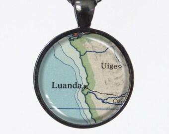 Vintage Map Necklace -Luanda, Angola, Africa -Vintage Map Series