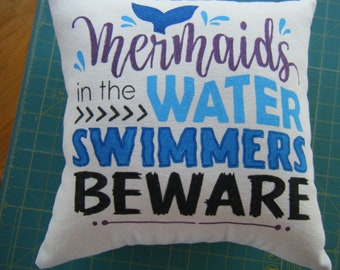 Pillow - Mermaids in the Water SWIMMERS BEWARE