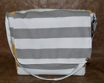 Messenger-gray and white stripe messenger-messenger bag-work bag