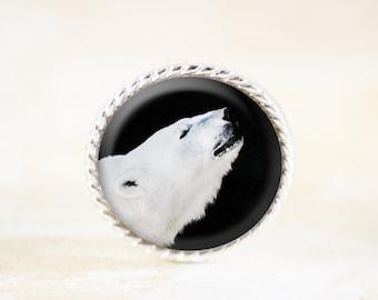 Polar Bear Brooch - Black and White Animal Photo Jewelry, Polar Bear Pin, White Bear Jewelry, Totem Animal Jewelry, Arctic Animal Brooch
