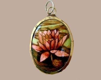 Vitreous Enamel Lotus Blossom Pendant