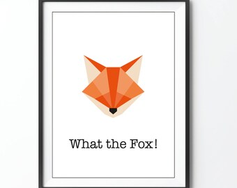 What the Fox! print Fox illustration origami polly geometric