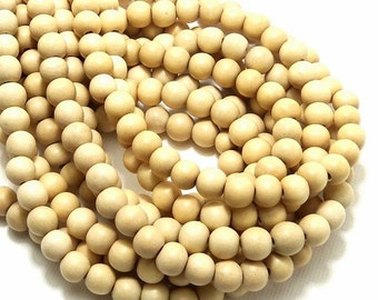 Whitewood, 6mm - 7mm, Round, Unbleached, Natural Wood Beads, Smooth, Small, Full 16 Inch Strand, 70pcs - ID 2037