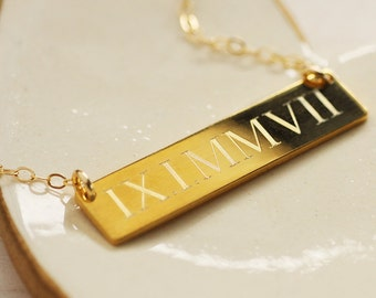 Gold Roman Numeral Necklace - 14K Gold Fill