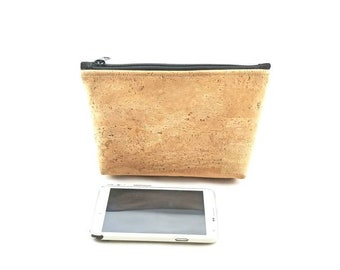 "9"" x 5""  Natural Cork  - Gadget Bag - zipper pouch - Bag organizer"