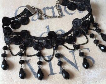 Gatsby Lace Choker Black Lace Crystal  Bead Choker Romance Wedding Jewelry Necklace
