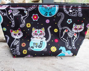 Sugar Skull Cats Makeup Bag | Cute Skeleton Cats Fabric | Mother's Day Gift | Cat Lovers | Cute Gift Under 20 | Accessory Bag | Bridesmaid