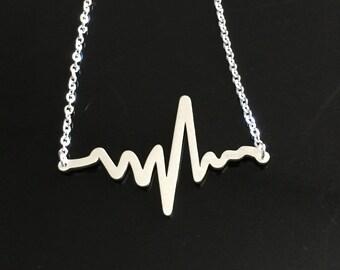 Heart Beat Necklace - Electrocardiogram EKG Rhythm  Necklace - EKG Necklace - Gift for Doctor Nurse -Medical Gift-Firefighter Paramedic EMT