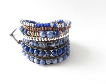 Lapis Laluzi Beaded Bracelet Sodalite Lapis Blue Brown Jewelry, Boho Leather Wrap Bracelet, Bohemian Festival Chunky Jewelry Blue Bracelet