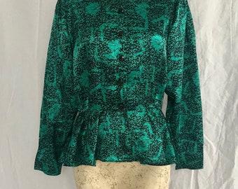 80's black and green peplum long sleeve blouse. laura winston size medium