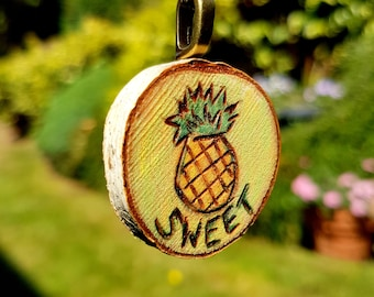 Yellow Pineapple pendant necklace with the word SWEET woodburned live edge birch round wood slice, yellow, orange and green, brass chain,