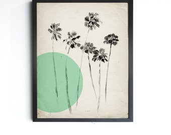 """California Palm Trees - Mint Modern Vintage Inspired Illustration - 8""""x10"""", 5""""x7"""", 9""""x12"""" or 11""""x14"""""""