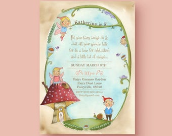 Woodland Fairy and Gnomes Custom birthday Printable party invitation, choose hair colour BLONDE or BROWN