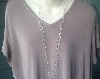 Bright Silver Chain ID Badge Lanyard Large Twisted Links Chain Lanyard