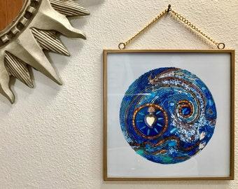 Pacific Mood framed digital print of beaded mosaic art
