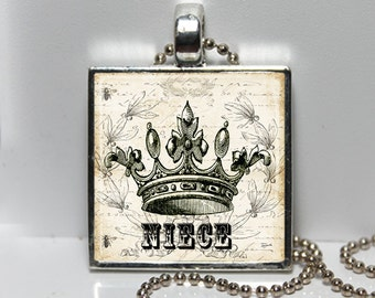 NIECE The PRINCESS Shabby Tiara Crown Altered Art Glass Pendant Charm Necklace