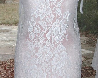 No. 500 Bridal or Evening French Solstiss Creamy White Chantilly Lace Dress Shell (SIZE 8-10)