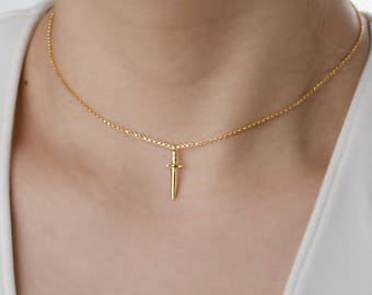 Simple Choker Necklace, Dainty Dagger Charm Necklace, Chain Necklace, Sterling Silver, Gold Plated, Gift for Her, Lunaijewelry, NCK105