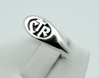 Vintage CTR Solid Sterling Silver Signet Ring FREE SHIPPING! #OVL2-L