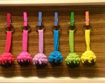 Original woven crochet keychain, colorful ball to choose