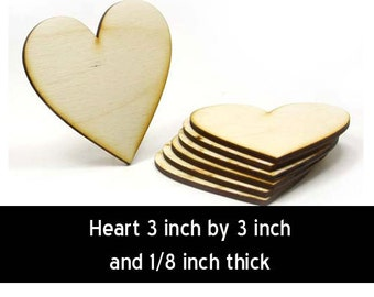 Unfinished Wood Heart - 3inches tall by 3 inches wide and 1/8 inch thick (HART75)