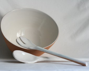 Bowl from ceramic salad, salad bowl with ceramic cutlery