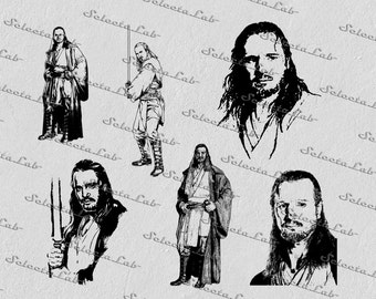 Digital SVG PNG qui gon jinn, star wars inspired, clipart, vector, silhouette, instant download