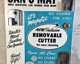 Vintage Can-O-Mat store merchant advertising board Can opener Rival 1955 graphics Ideal Gift kitchen retro REDUCED PRICE