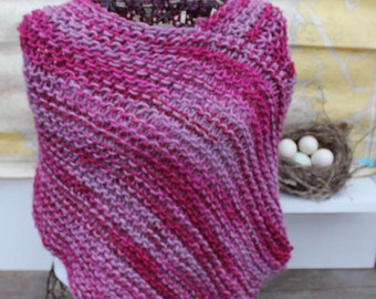 Chunky Knit Variegated Pink Poncho Hand Knit Wool Mohair Poncho Chunky Knit Poncho Variegated Orchid Rose Poncho Woman's Poncho