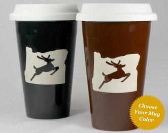 Oregon Stag Travel Mug - Portland lidded coffee cup