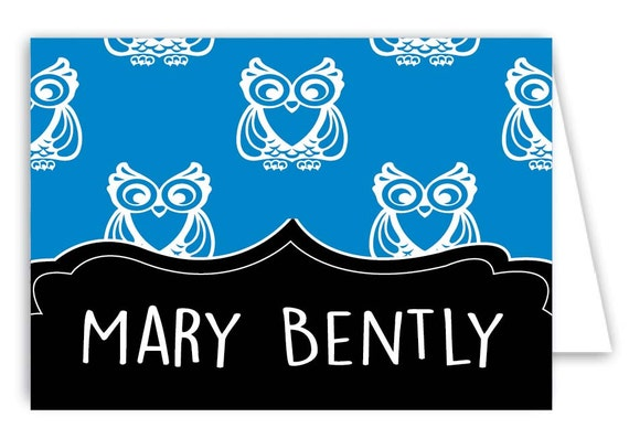 Personalized Owl Folded Note Cards - Set of 30 Monogram Notes