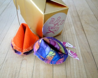 Fabric Fortune Cookies - Gift Set, Foodie Gift, Fun Gift, Love Notes, Unique Token, Gluten Free, Customizable, Colorful, Ready to Ship