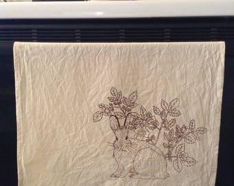 Woodland animals screen printed cotton tea towel