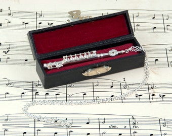 Flute Necklace in Case - Music Jewellery - Flute Jewellery - Flute Gift