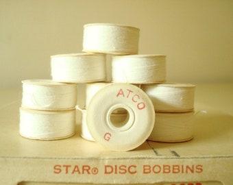 Paper thread bobbins, 10 vintage ATCO white cotton thread bobbins, Star disc bobbins, craft room supply, seamstress gift