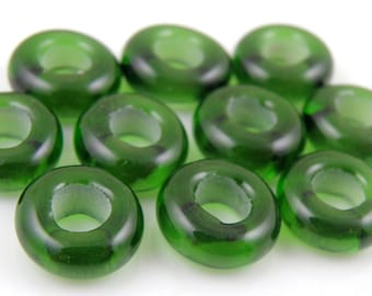 019 Sage Green Made to Order SRA Lampwork Handmade Artisan Glass Charm Bracelet Big Hole Bead Spacer Beads Set of 10 4.5mm Holes