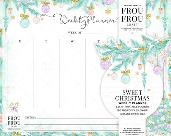 Christmas Planner Pastel Christmas Weekly Planner Instant Download Printable Scheduler Watercolor Organizer Xmas Agenda Holiday Gift For Her