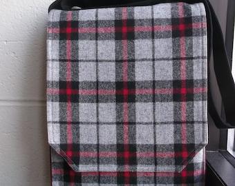 Grey Red & Black Plaid Wool Messenger Bag