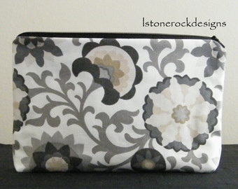Large Make-Up Bag-Gray Abstract Floral Print